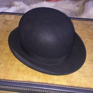 Black Fur Felt derby bowler hat Broadway NY men's